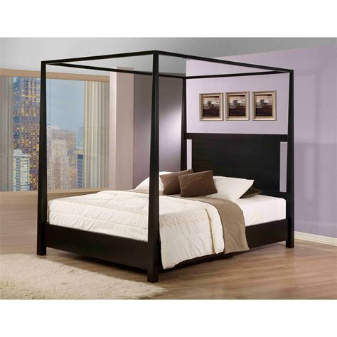 Wood Canopy Bed Frame King Bedroom California King Size Canopy Bed Which Furnished With Brown Solid Wood Four Poster