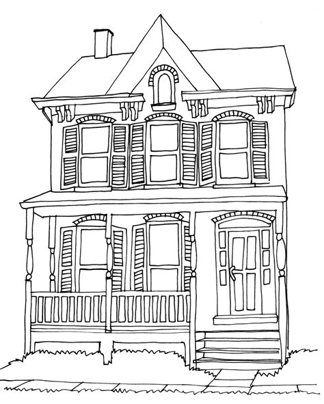 home drawing victorian house drawing