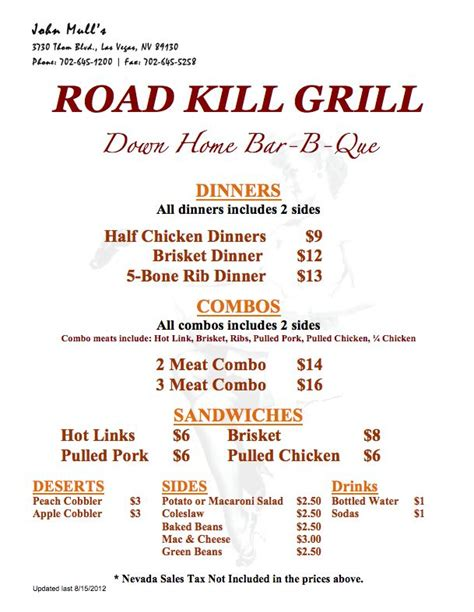 Guy Fieri Backyard Road Kill Grill Menu Las Vegas Las Vegas Pinterest