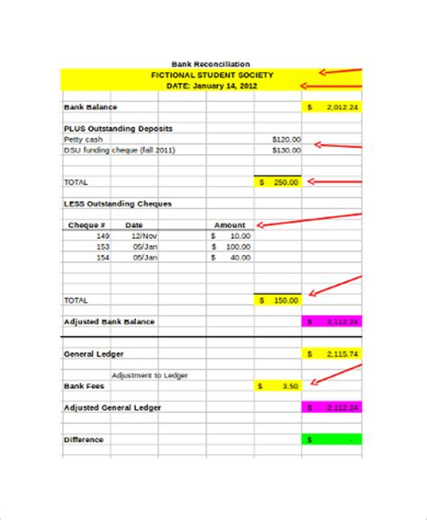 bank reconciliation template xls bank reconciliation worksheet for students worksheets