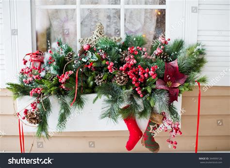 window sill christmas decorations decorations on window sill stock photo 344999126