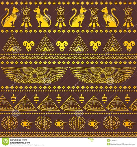 ethnic pattern meaning tribal ethnic seamless pattern with egypt symbols stock