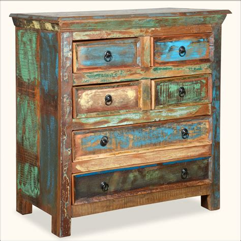 reclaimed wood rustic 6 drawer bedroom dresser storage