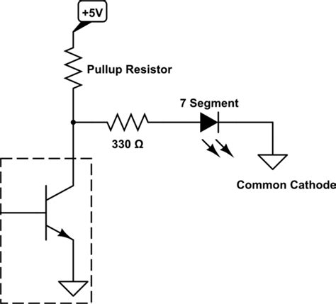 pull up resistor open collector 7segmentdisplay bcd to 7 segment is producing voltage electrical engineering