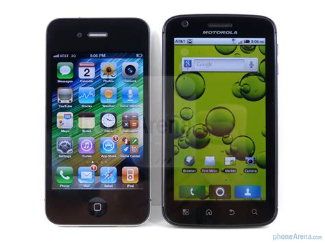 motorola atrix 4g vs apple iphone 4 phonearena