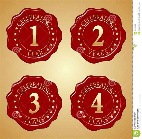 Vector Set Of Anniversary Red Wax Seal First, Second
