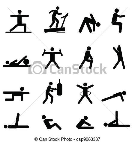 stickman exercise diagrams vectors illustration of fitness and exercise icons