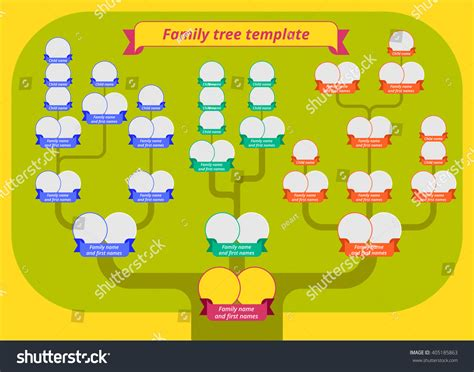 Family Tree Template Modern Flat Style Stock Vector 405185863 Shutterstock Family Tree Template Vintage Vector Illustration Stock Vector 397284052