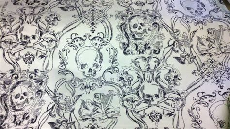gothic upholstery fabric skull duggery white and black pirate goth skull and