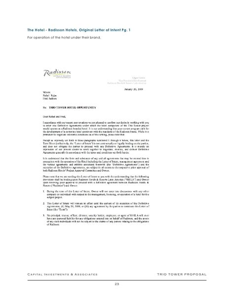 Letter Of Intent Hotel Sle Trio Tower Version 1 Business Plan