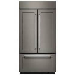 Kitchenaid Built In French Door Refrigerator - shop kitchenaid 24 2 cu ft 3 door built in french door refrigerator single ice maker panel