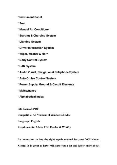 2005 nissan xterra service manual 2005 nissan xterra service repair manual