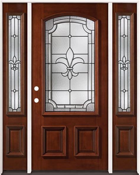 Discount Fleur De Lis 3 4 Arch Mahogany Prehung Wood Door Fleur De Lis Front Door