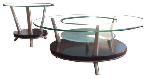 used glass coffee table end table set contemporary