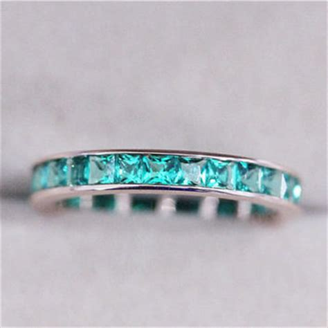 Blue Color Moissanite 3 89 Ct best emerald cut eternity band products on wanelo