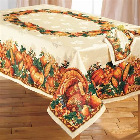 elegant thanksgiving turkey harvest tablecloth table decor serving pieces