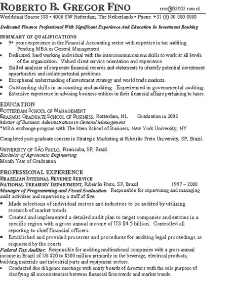 Investment: Investment Banking Consulting Resume
