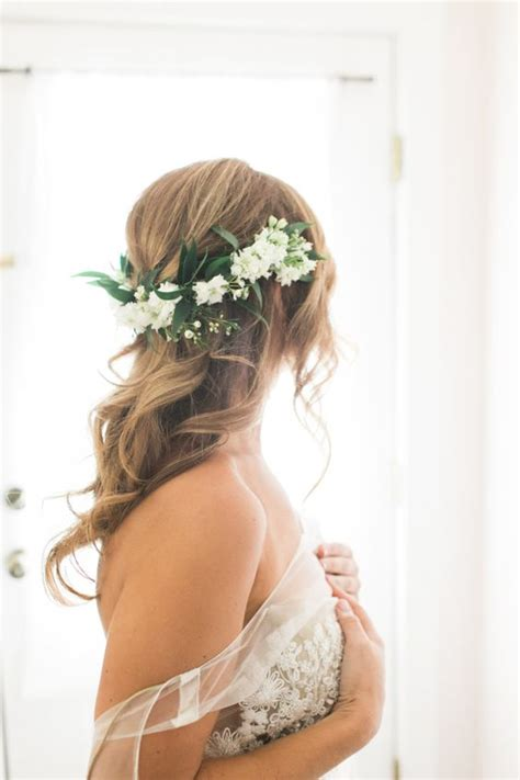 Bridal Hairstyles Half Up With Crown by Rustic Half Flower Crown For The Via Lola