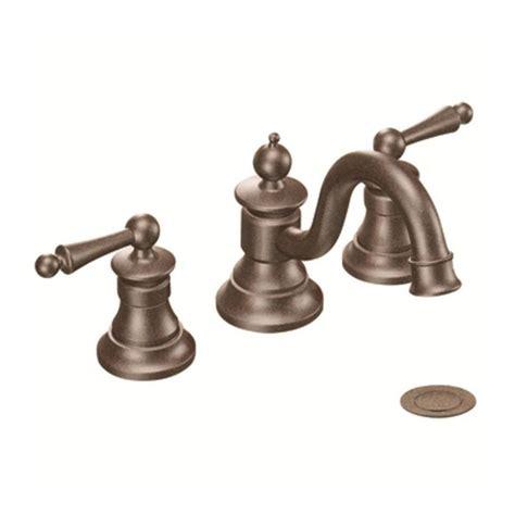 moen bathroom sink faucets shop moen waterhill rubbed bronze 2 handle widespread