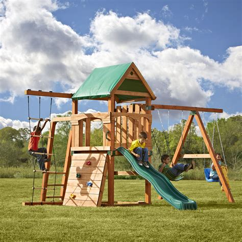 swing play swing n slide play set trekker swing set reviews wayfair