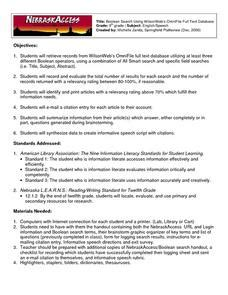 Boolean Search Worksheet by Boolean Searching Lesson Plans Worksheets Reviewed By