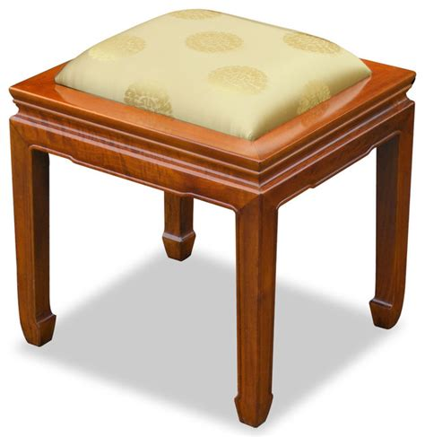 upholstered bench cushions rosewood horse shoe bench with silk cushion asian upholstered benches by china