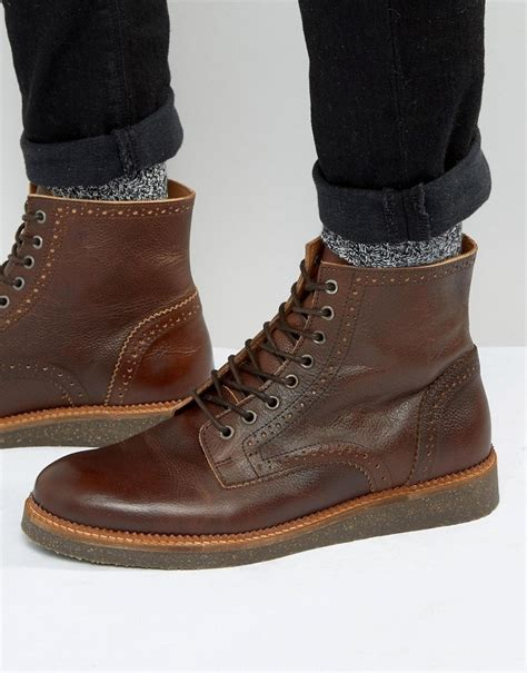 shopstyle mens boots asos brogue boots with cork sole in leather