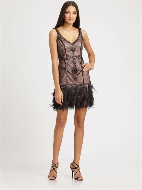 beaded feather dress sue wong beaded feather dress in black lyst