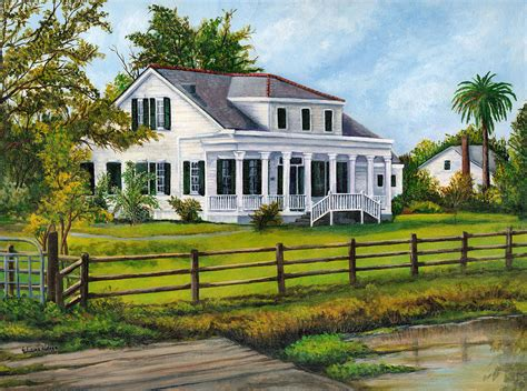 Old Southern Plantation House Plans by Creedmoor Plantation Painting By Elaine Hodges