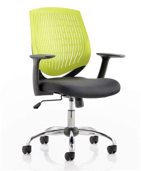 dura office chair with lime green backrest