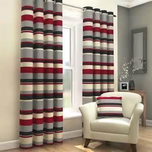 lovely Designs For Curtains In Living Room #1: grey-and-red-curtains-in-striped-designs-for-living-room.jpg