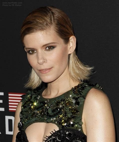kate nauta with a short haircut slicked back with gel kate mara easy to achieve bob hairstyle for dirty hair