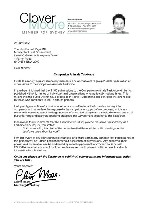 Clover Moore Letter Submissions Companion Taskforce Rep 120727 Companion Letter Template