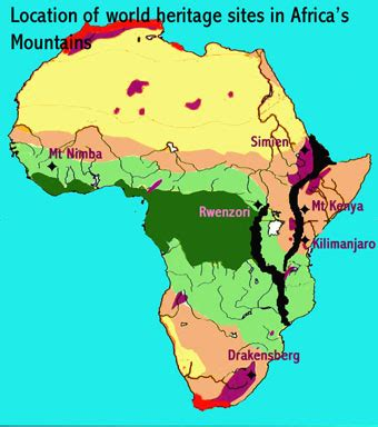 africa map mountains mountains world heritage