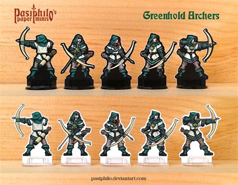 D D Papercraft - greenhold archers 28mm paper miniatures by pasiphilo on