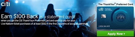 Live Nation Gift Card Purchase - citi preferred signup bonus of 10 000 thankyou 100 live nation statement credit