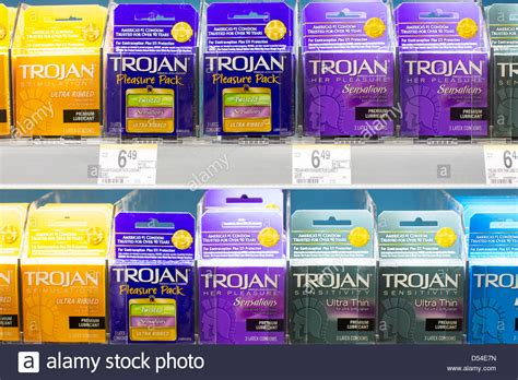 Average Shelf Of Condoms by Trojan Products On Display At A Walgreens Flagship