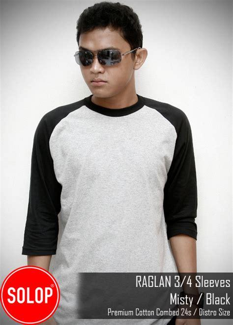Kaos Raglan Polos Cotton Combed 30s Premium Grey X Black grosir kaos polos bandung kaos polos kaos bandung kaos polos bandung