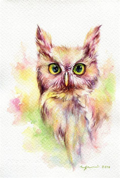 Cincin Aksesoris Fantasi Owl 2 print owl watercolor painting 7 5 x 11
