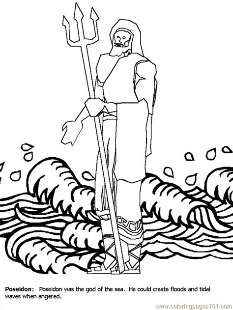 greece poseidon coloring page free greece coloring pages