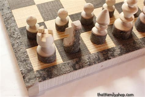 Handmade Wooden Chess Set - rustic chess set log wooden chess board handmade chess set