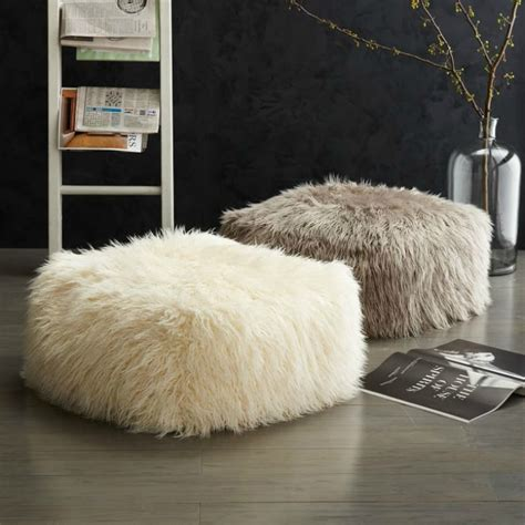 Fluffy Pouf Ottoman Real Luxury With Faux Fur Fabulosity Project Nursery