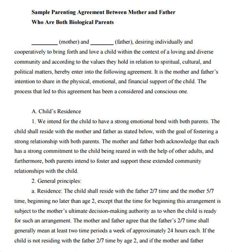 Sle Letter Of Agreement Between Two Parents Sle Child Support Agreement 7 Exle Format