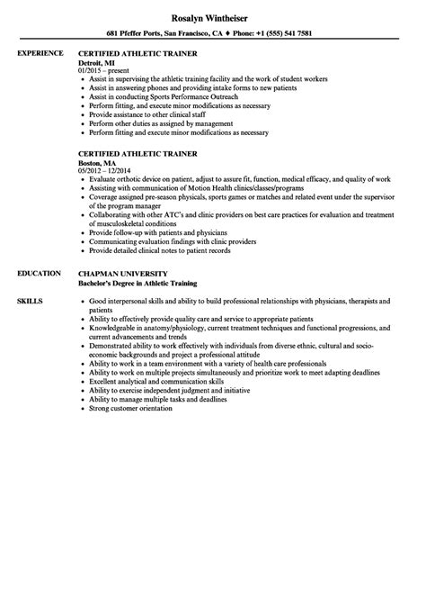 certified athletic trainer resume sles velvet