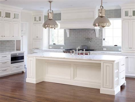 Grey And White Kitchen Cabinets White Gray Glaze Kitchen Island With Gray Marble Counter Top Combined With Cupboard Placed On