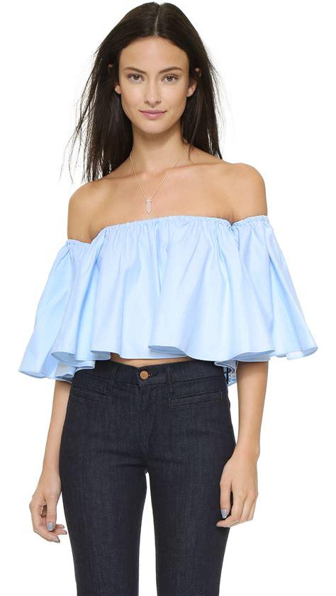 nicholas shoulder top blue in blue lyst