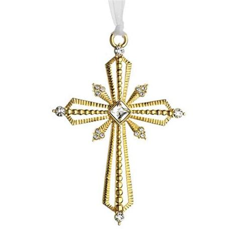 2014 lunt crystal cross silver christmas ornament silver