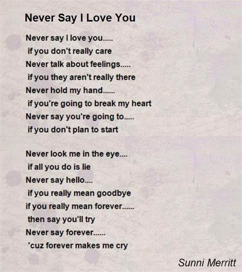 Poems To Say I Love You Im 225 Genes De Amor Con Movimiento | never say i love you poem by sunni merritt poem hunter
