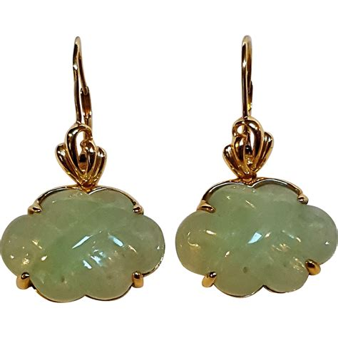 14k gold jade carved pierced drop earrings hong kong from