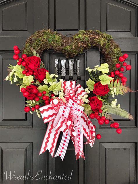 valentines day wreath front door heart wreath red rose